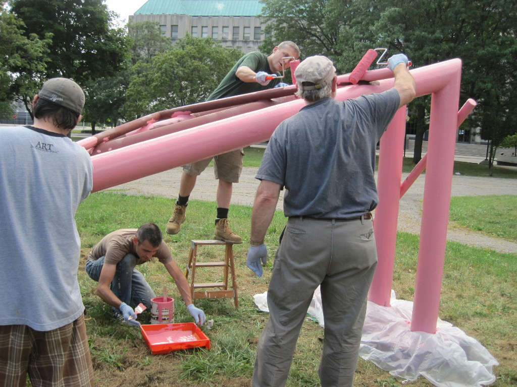 Detroit's citizens gathering to repaint Three Trusses Plus/Pink Landscape, Cass Park, Detroit, Michigan.